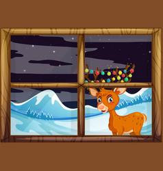 reindeer behide window concept vector image