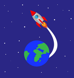 rocket launch from planet earth vector image