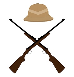 Safari hat and crossed rifles vector image