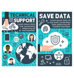save data technical banners vector image