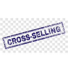 Scratched cross-selling rectangle stamp vector
