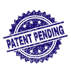 Scratched textured patent pending stamp seal vector