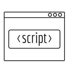 script window icon outline style vector image