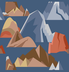 Seamless pattern with mountain icons in flat style vector