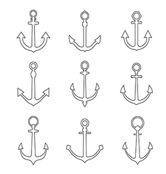 set anchors line style vector image