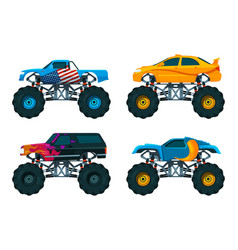 Set big monster truck cars pictures set vector