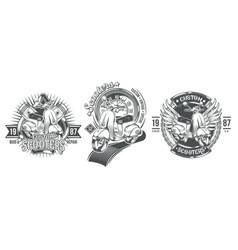 set black vintage badges emblems vector image