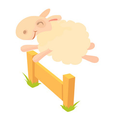 sheep jumping over barrier icon cartoon style vector image