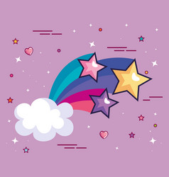 Shooting star with cloud and cute decoration vector