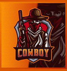 Silhouette american cowboy western bandit shooter vector