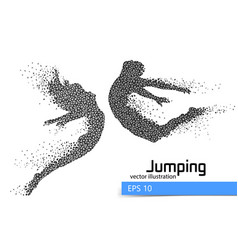 Silhouette of a jumping man and girl from triangle vector