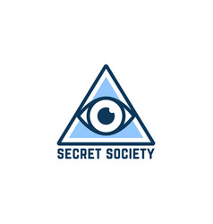 Simple blue secret society logo vector