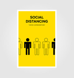 Social distancing sign line art poster deisgn vector