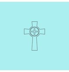Tombstone - cross gravestone icon vector image