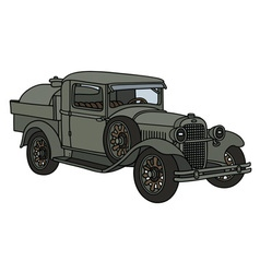 Vintage military tank truck vector image