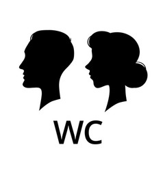 Wc toilet sign male and female face profile vector