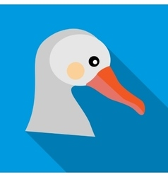 White goose icon in flat style vector image