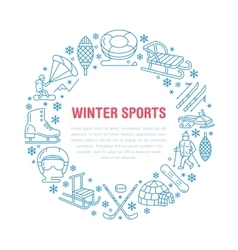 Winter sports banner equipment rent at ski resort vector