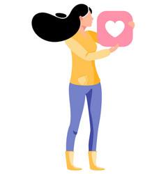 woman gives like on social media vector image