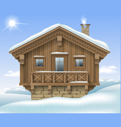 Wooden house in the winter mountains vector