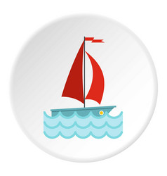 Yacht with red sails icon circle vector