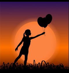 Young girl black silhouette holding air balloons vector