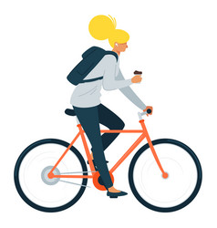 young girl riding bicycle flat vector image