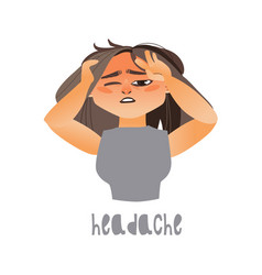young sick girl suffering from headache vector image