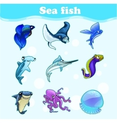 Colorful set of marine animals vector image