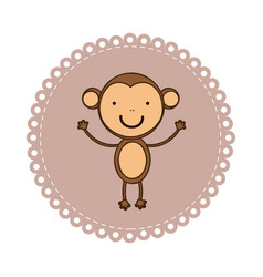 emblem with monkey inside icon vector image