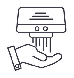 Hand dryer line icon sign on vector