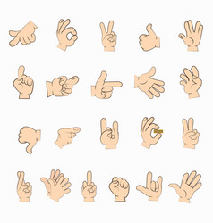 hands set in different gestures isolated on white vector image
