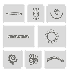 icons with Polynesian tattoo symbols vector image