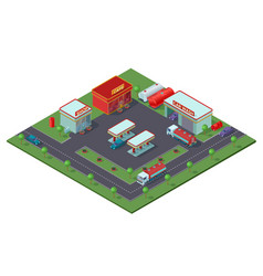 isometric gas station concept vector image vector image