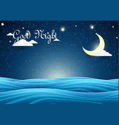 paper art night sky landscape crescent moon with vector image vector image