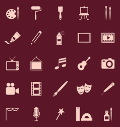 Art color icons on red background vector image vector image