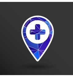 Map Pointer Icon With Cross Hospital First Aid vector image