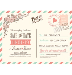Vintage postcard background for wedding invitation vector image