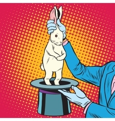 white rabbit in the magicians hands vector image