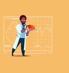 african american doctor cardiologist examining vector image vector image