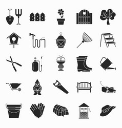 collection of gardening icons vector image
