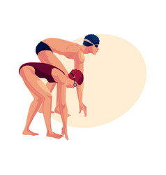 female swimmer in starting position ready do dive vector image