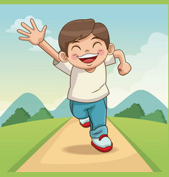 happy children day cartoon boy with landscape vector image