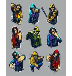 set of hoody gangsters vector image vector image