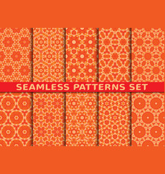 beautiful colorful seamless patterns set vector image