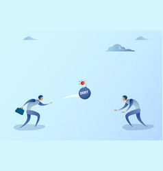 business men throwing each other bomb credit debt vector image