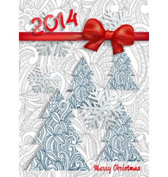 Christmas card with an ornament and red bow vector image