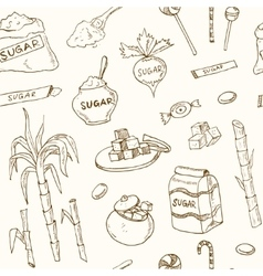 Doodle seamless pattern sugar products vector image vector image