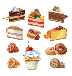 pastry set in cartoon style vector image vector image