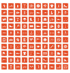 100 sneakers icons set grunge orange vector image